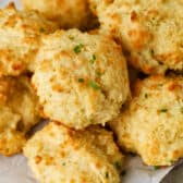 close up of plated Garlic Drop Biscuits