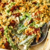 Homemade Green Bean Casserole cooked with a spoon