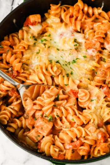 top view of cooked One Pot Rotini Pasta