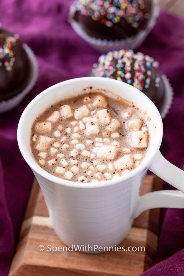 close up of cup of Hot Chocolate Bombs