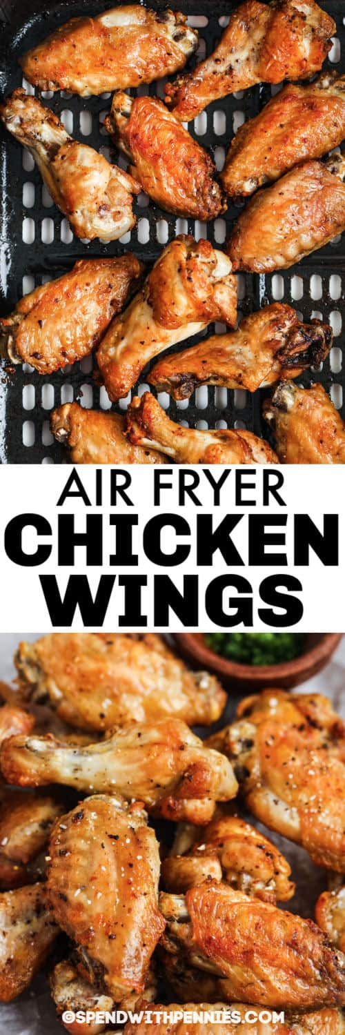 Air Fryer Chicken Wings in the air fryer and plated with a title