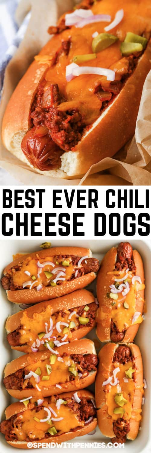 Chili Cheese Dogs with a title