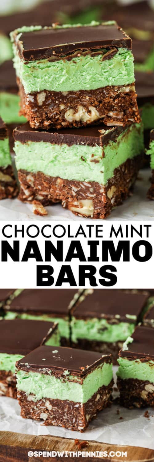 cutting squares of Chocolate Mint Nanaimo Bars with a title
