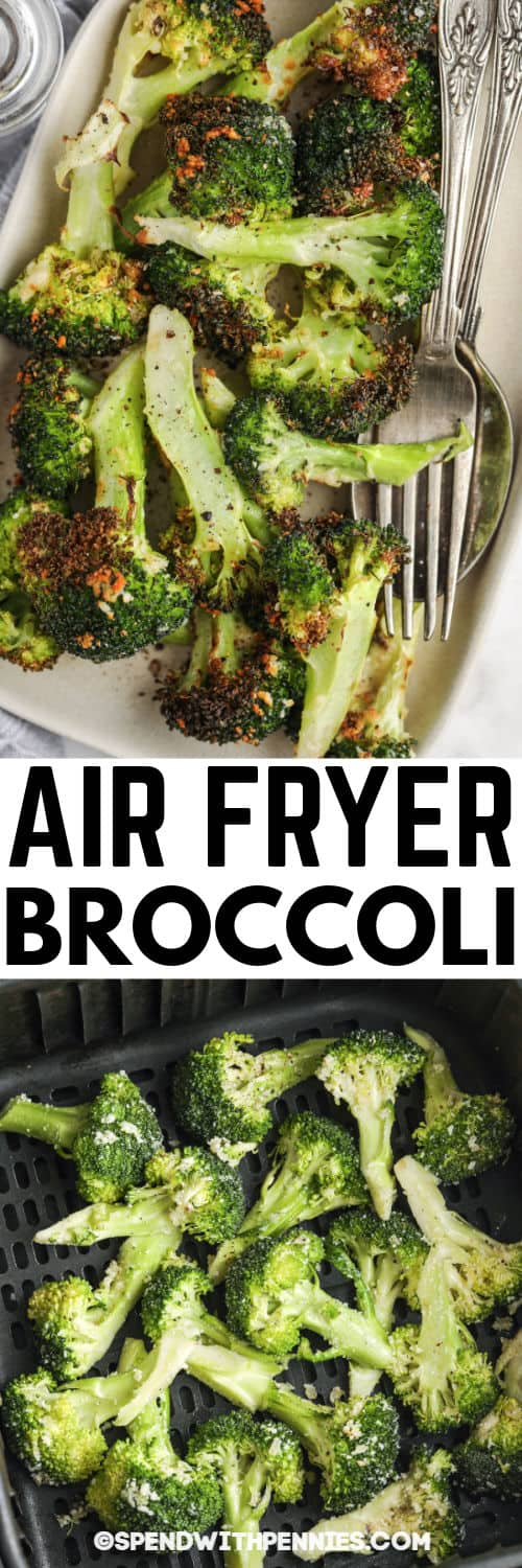 Crispy Garlic Air Fryer Broccoli in the air fryer and plated with a title