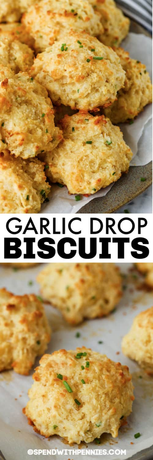 Garlic Drop Biscuits on a baking sheet and plated with a title