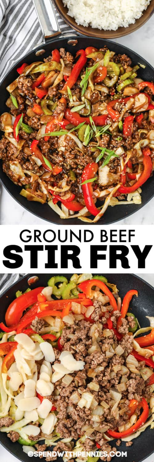 Ground Beef Stir Fry in the pan with writing