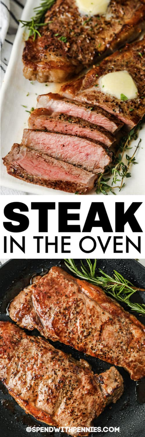 steak on a pan and plate to show How to Cook Juicy Steaks in the Oven with a title