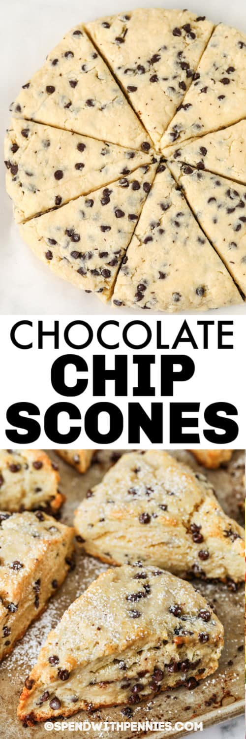 Mini Chocolate Chip Scones before and after cooking with a title