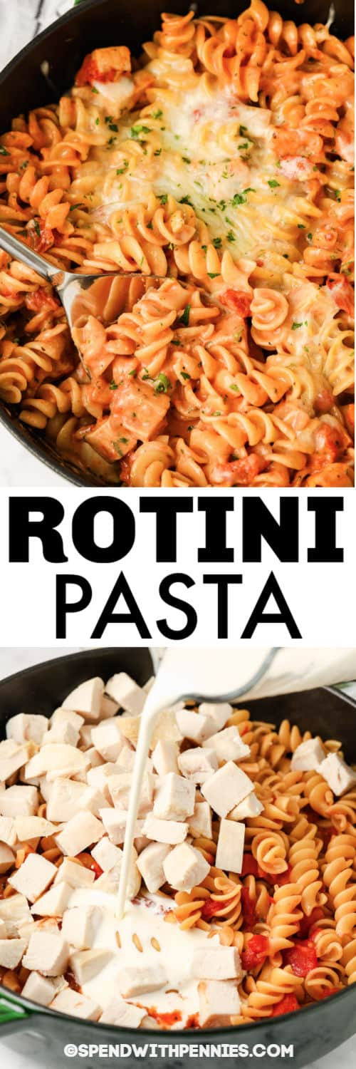 cooking and finished One Pot Rotini Pasta in a pot with writing
