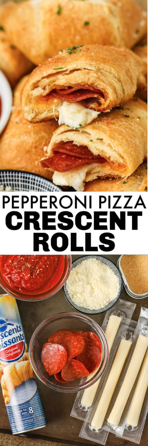 ingredients to make Pepperoni Pizza Crescent Rolls with final dish and a title