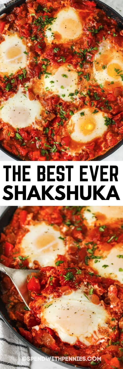 Shakshuka in the pan with a spoon and writing