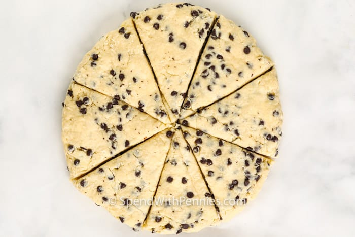 cookie dough to make Mini Chocolate Chip Scones cut into triangles