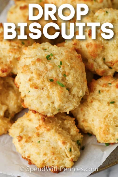 Garlic Drop Biscuits with writing