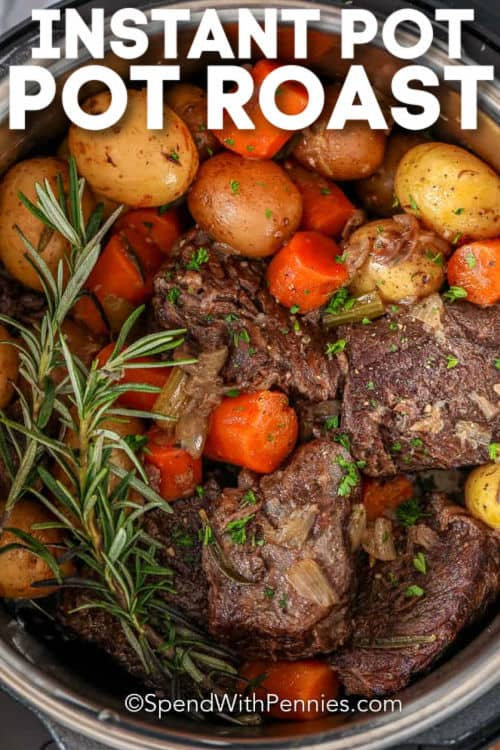 cooking Instant Pot Pot Roast with a title