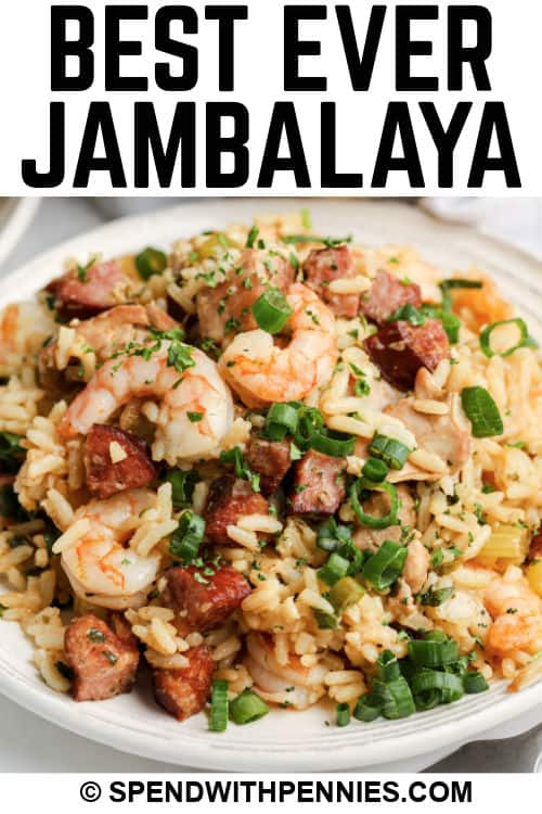 close up of a plate of Jambalaya with a title