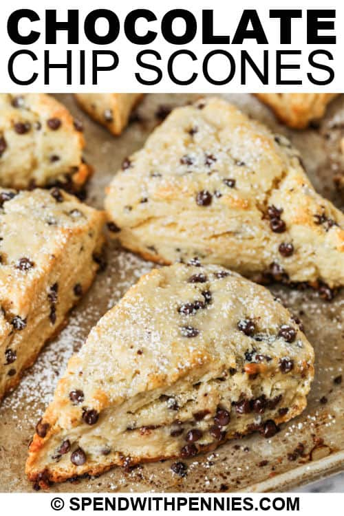 Mini Chocolate Chip Scones on a baking sheet with writing