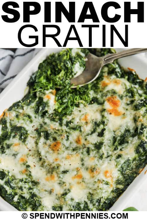 Spinach Gratin with writing