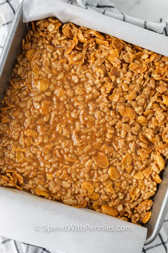 No Bake Peanut Butter Squares in the pan