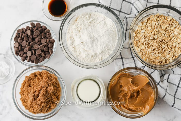 ingredients to make Peanut Butter Oatmeal Bars