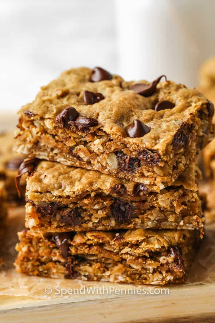 pile of Peanut Butter Oatmeal Bars