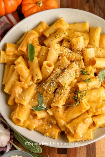 Pumpkin Pasta in a white bowl