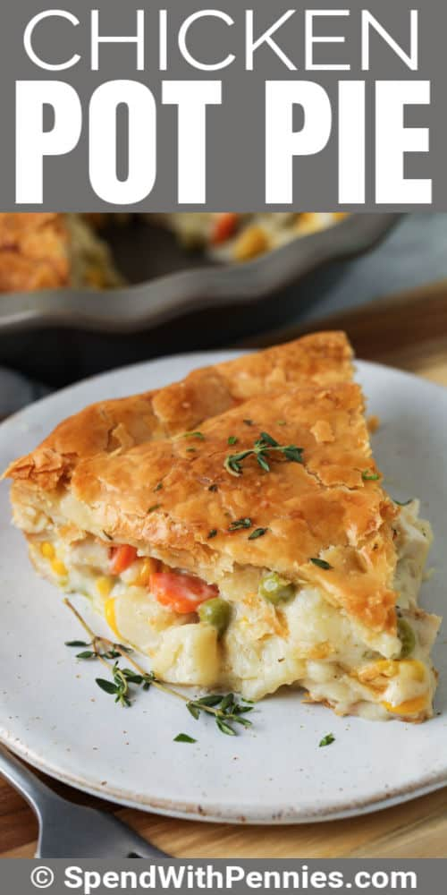 plated Chicken Pot Pie with writing
