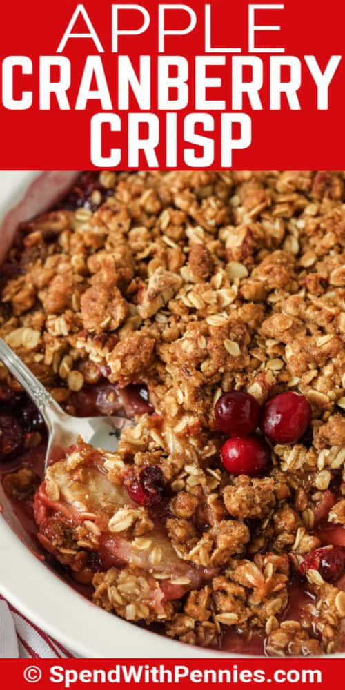 close up of Cranberry Apple Crisp with writing