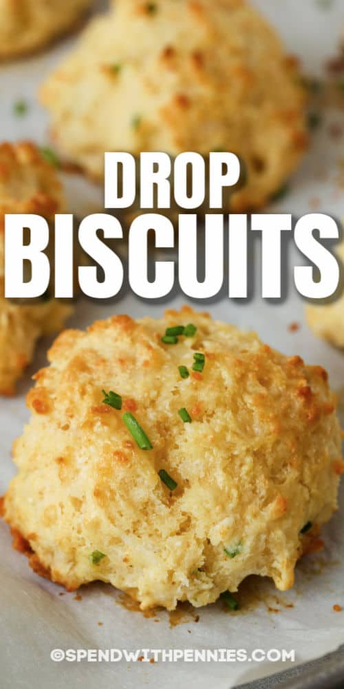Garlic Drop Biscuits on a baking sheet with a title