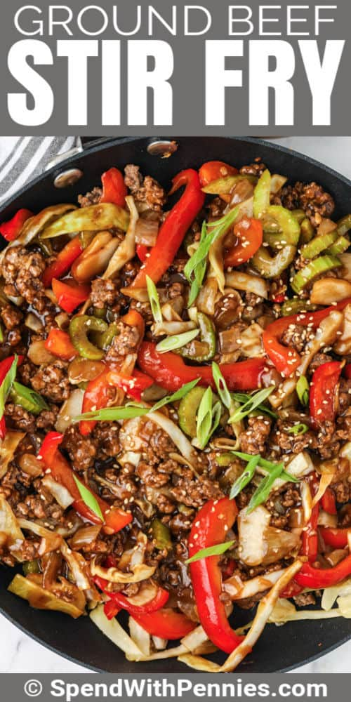 Ground Beef Stir Fry cooking in a pan with writing