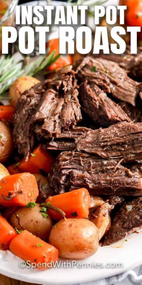 Instant Pot Pot Roast plated with writing