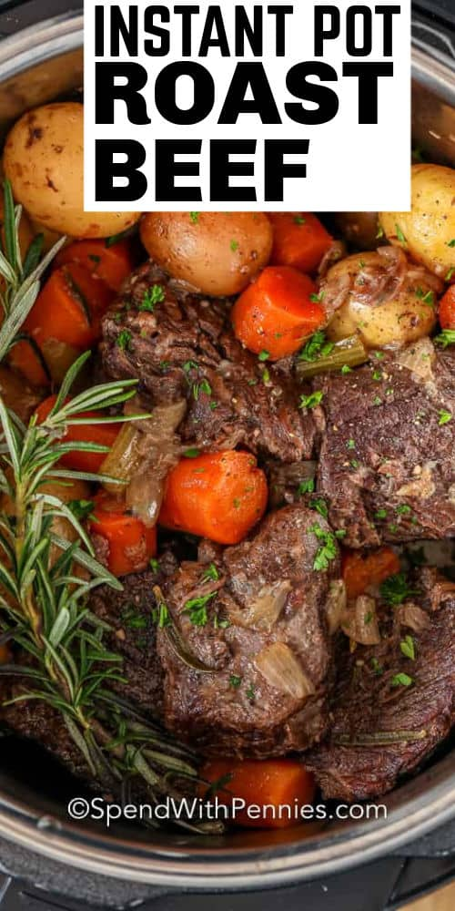 Instant Pot Pot Roast cooking with a title