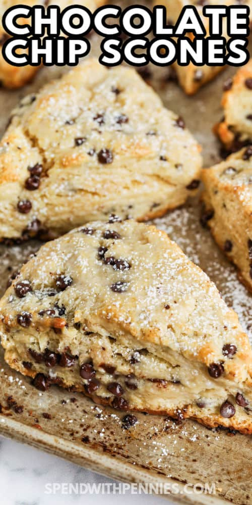 Mini Chocolate Chip Scones cooked on a baking sheet with a title