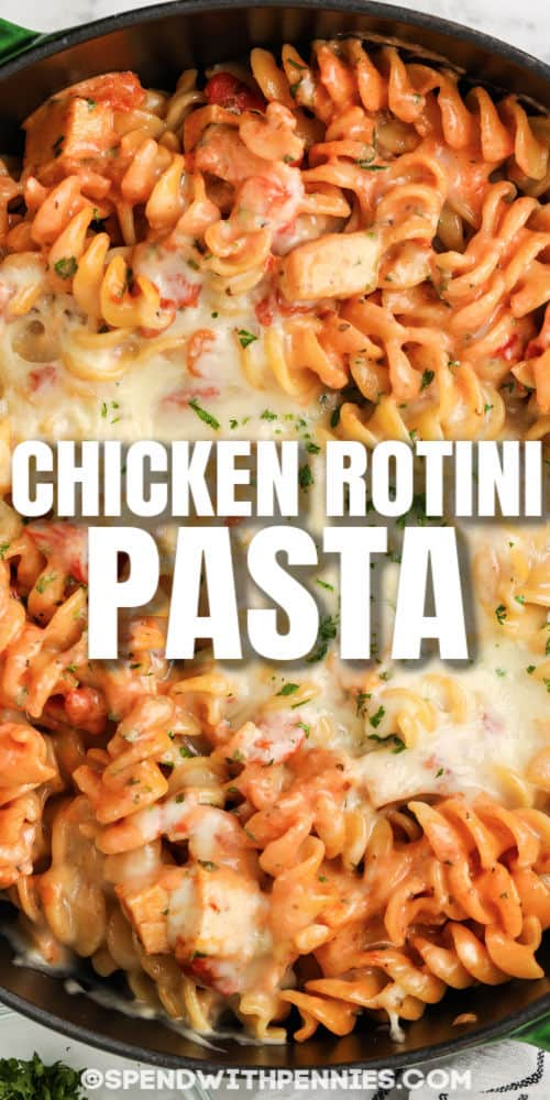 One Pot Rotini Pasta in a pot with writing