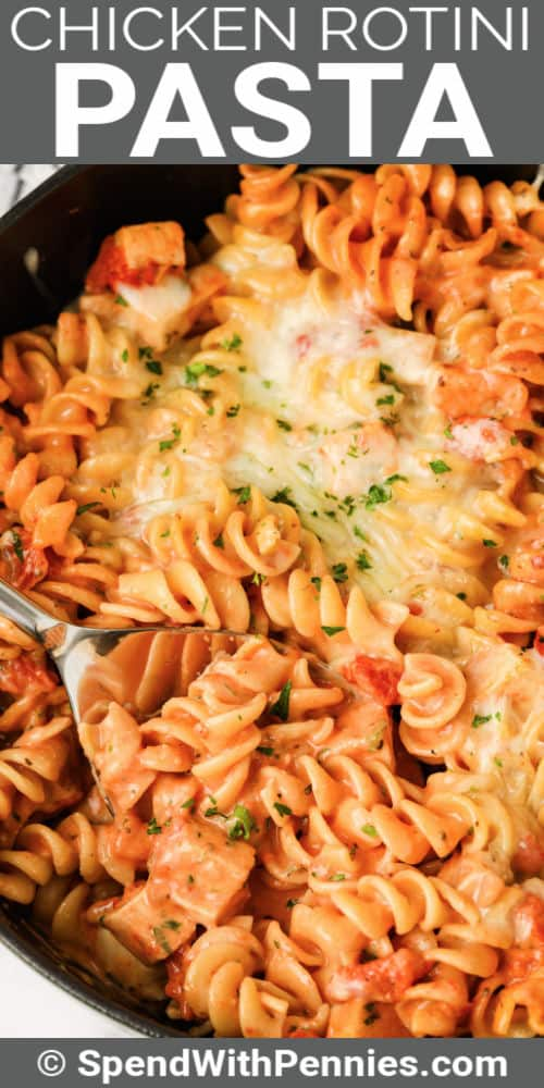 One Pot Rotini Pasta with a title