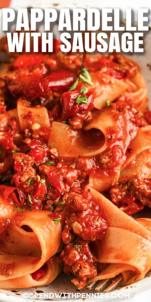 close up of Pappardelle with Sausage in a bowl with writing