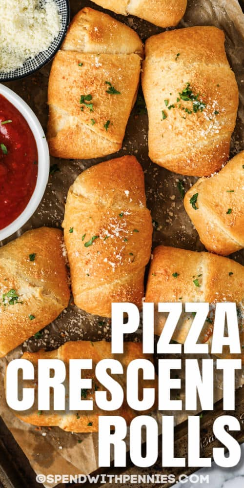 Pepperoni Pizza Crescent Rolls with a title