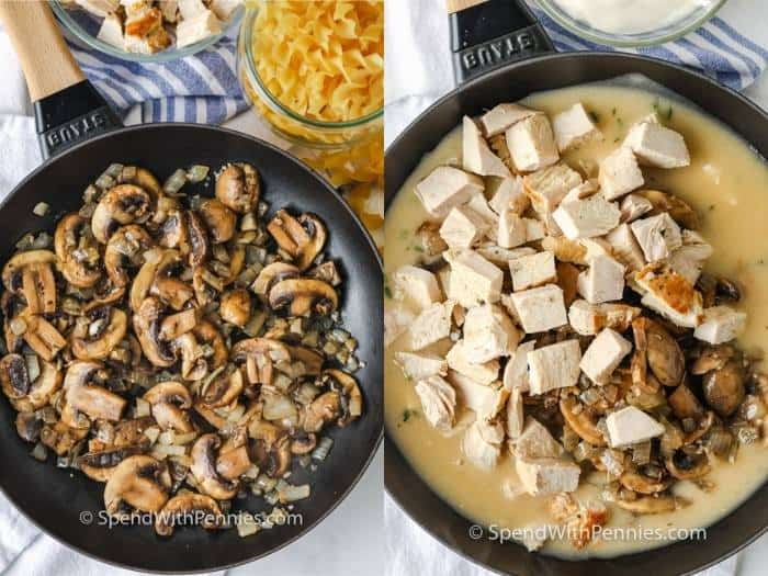process of adding ingredients to pan to make Herbed Turkey Stroganoff