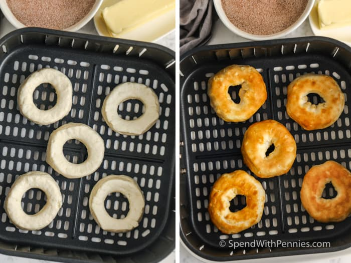 raw and cooked donuts in an air fryer basket