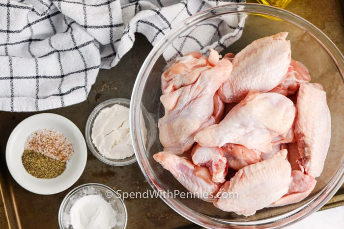 ingredients to make Actually Crispy Oven Baked Wings in bowls