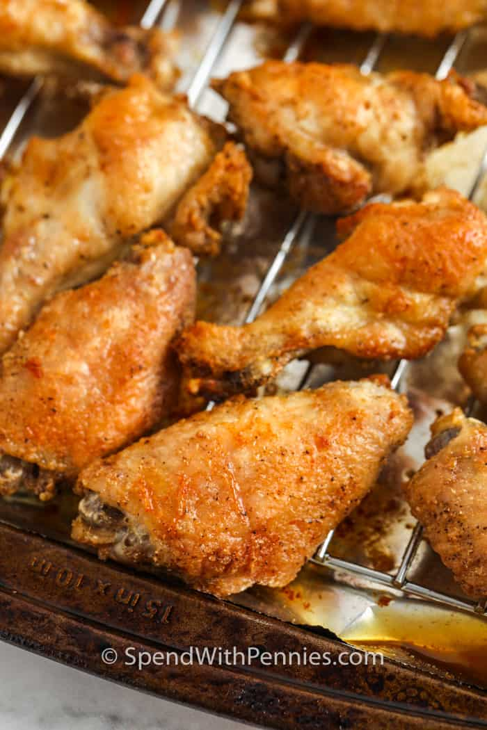 close up of cooked Actually Crispy Oven Baked Wings
