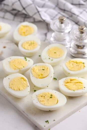 air fryer hard boiled eggs on a marble