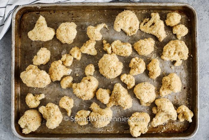coated pieces of Air Fryer Buffalo Cauliflower