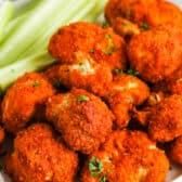 close up of Air Fryer Buffalo Cauliflower