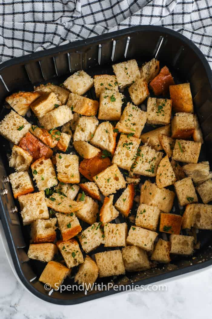 seasoned Air Fryer Croutons in the air fryer