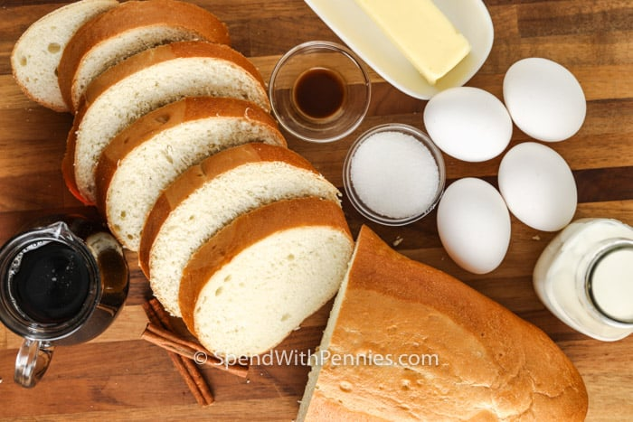 sliced bread and ingredients to make Air Fryer French Toast