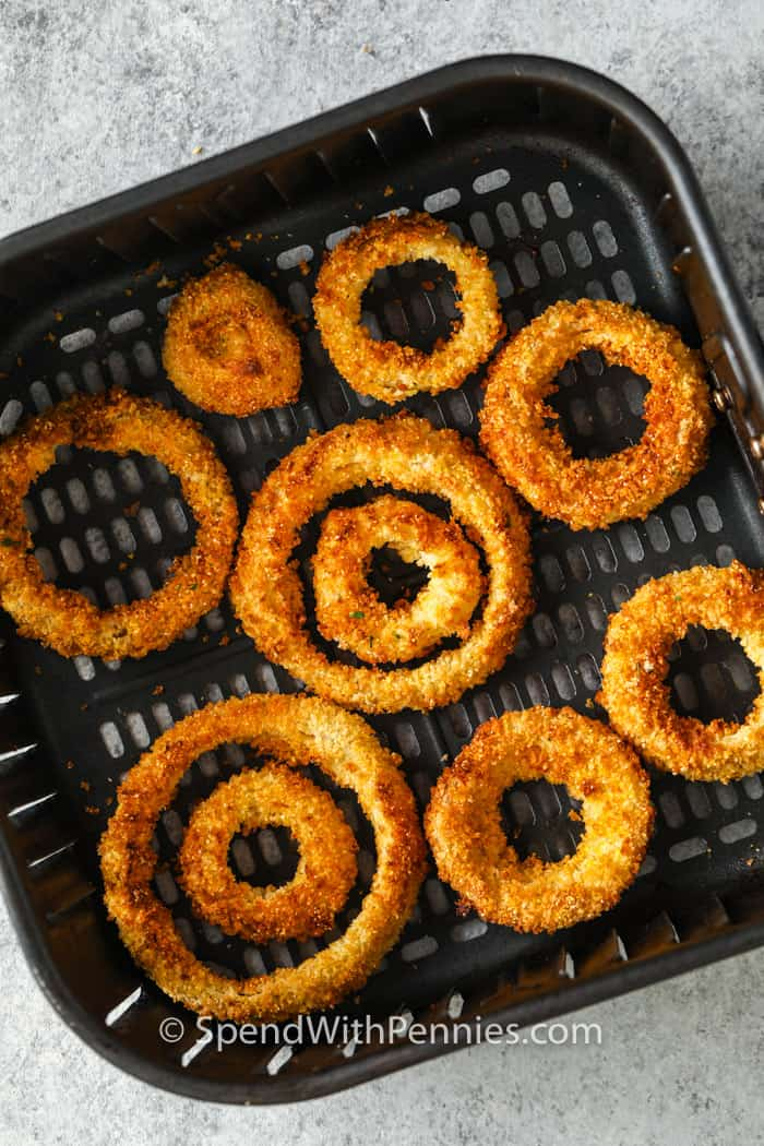 Air Fryer Onion Rings in the air fryer