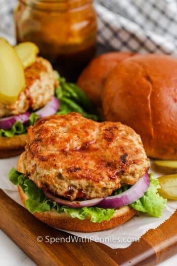 Air Fryer Turkey Burgers on a bun