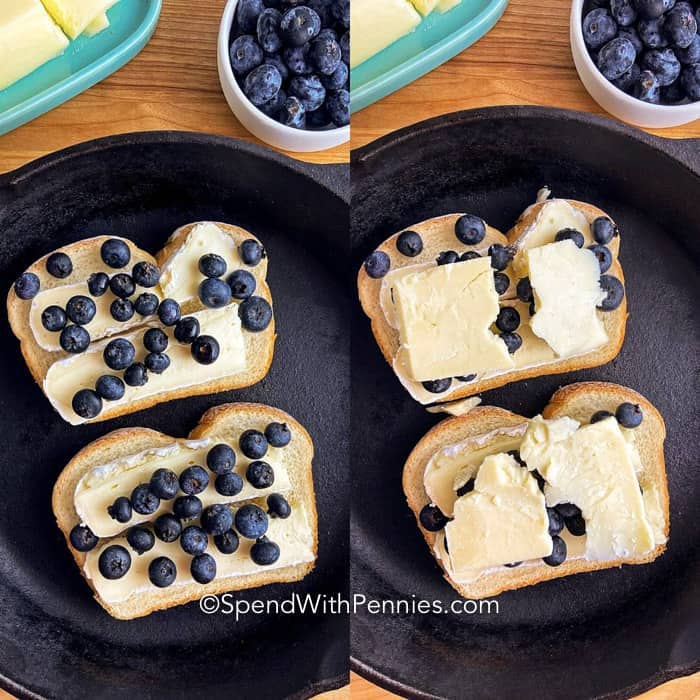 Two images showing the steps to top a blueberry brie grilled cheese.
