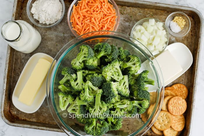 ingredients to make Cheesy Broccoli Casserole