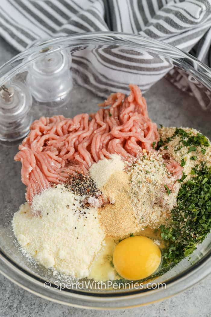 ingredients to make Chicken Meatballs in a bowl